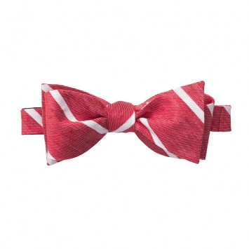 Linen Stripe Bow - Red